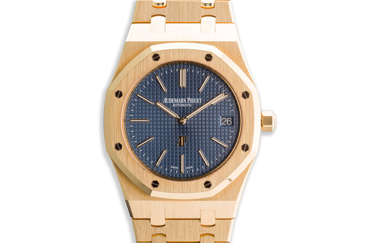 2017 Audemars Piguet Royal Oak Jumbo Extra Thin 15202BA.OO.1240BA.01.A Blue Dial with Box and Papers photo