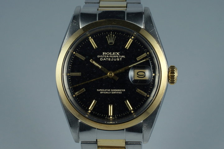 1971 Rolex Two Tone DateJust 1600 Glossy Gilt Black Dial photo