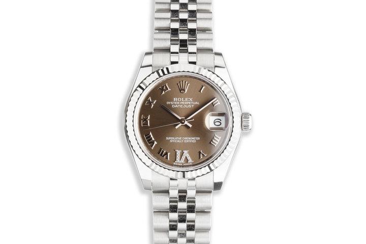 2021 Midsize 31mm Rolex Datejust 178274 Diamond 'VI' Gray Dial with Box & Card photo