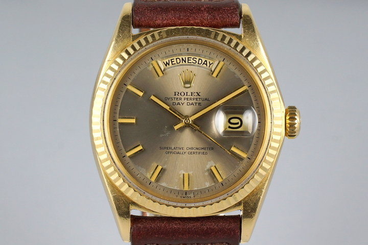 1968 Rolex YG Day-Date 1803 Gray Non-Luminious 'Wide Boy' Dial with Punched Papers photo