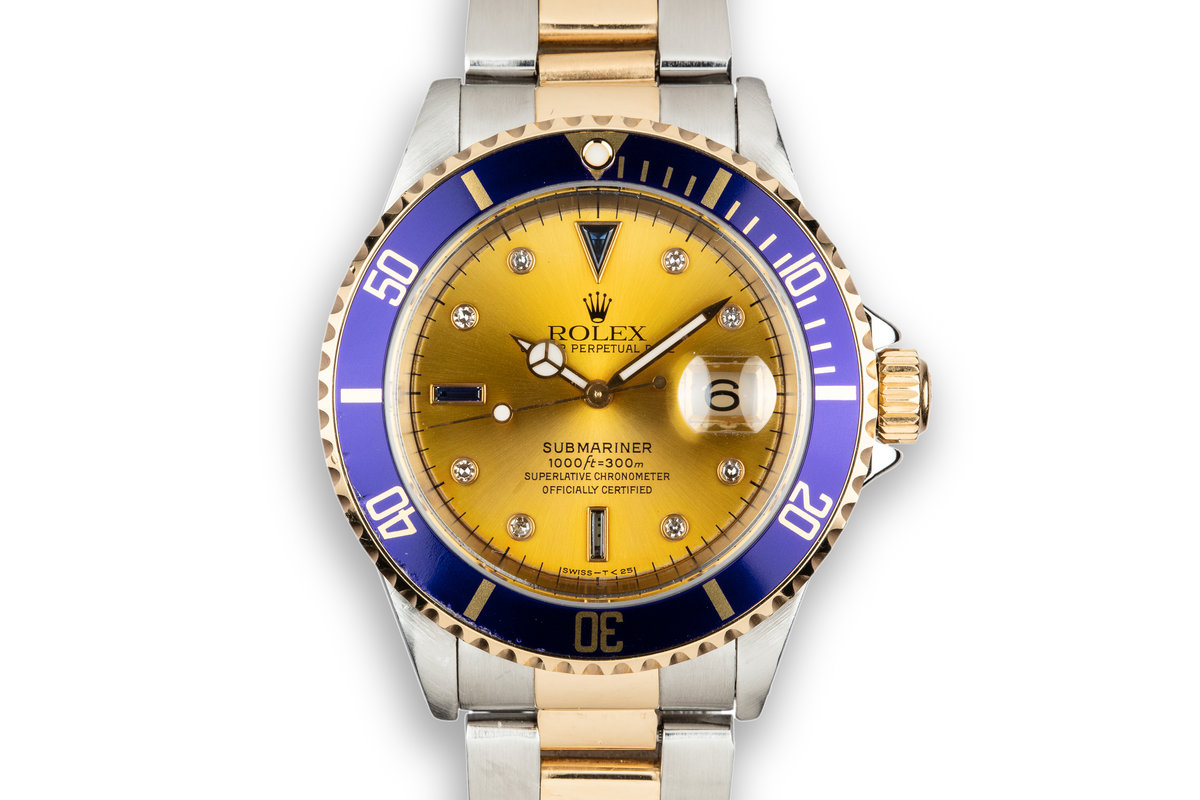 1995 Rolex Two-Tone Submariner 16613 with Champagne Serti Dial photo, #0