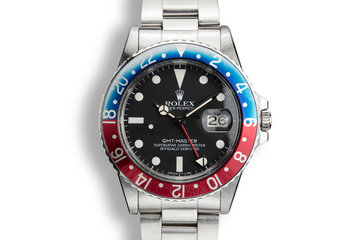 "1981 Rolex GMT-Master 16750 ""Pepsi"" with Box, PX Purchase Papers, and Service Records photo"