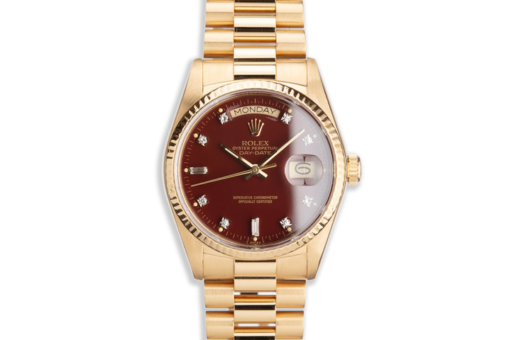 1984 Vintage Rolex 18K Day-Date Stella Ox Blood Dial with Diamond Markers and Box and Papers photo