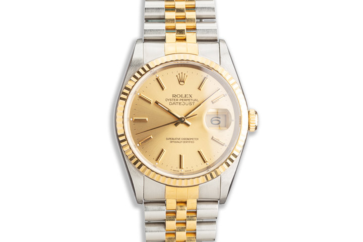 1991 Rolex Two-Tone DateJust 16233 Gold Dial photo