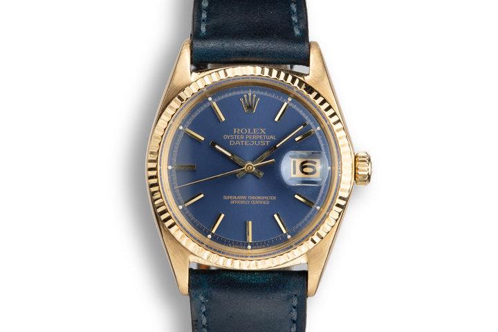 1965 Rolex 18K YG DateJust 1601 Blue Dial photo