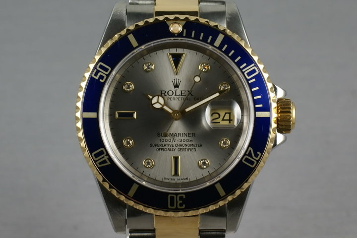 Rolex Submariner 18K/SS 16613 with Slate Serti Dial photo