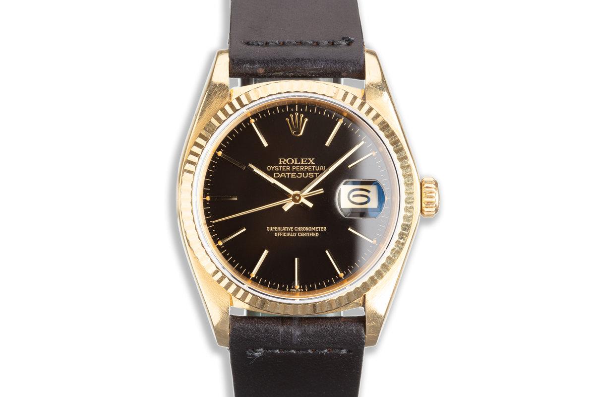 1979 Vintage Rolex 18k DateJust 16018 Black Gilt Dial Box & Papers photo, #0