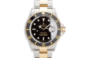 2007 Rolex Two Tone Submariner 16613LN with Box and Card Bezel Engraved photo
