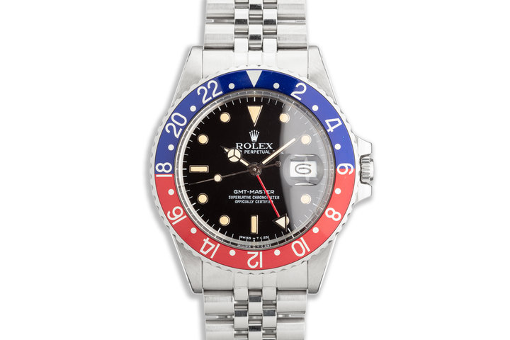 """1986 Vintage Rolex GMT-Master 16750 """"Pepsi"""" with Box and Papers photo"""