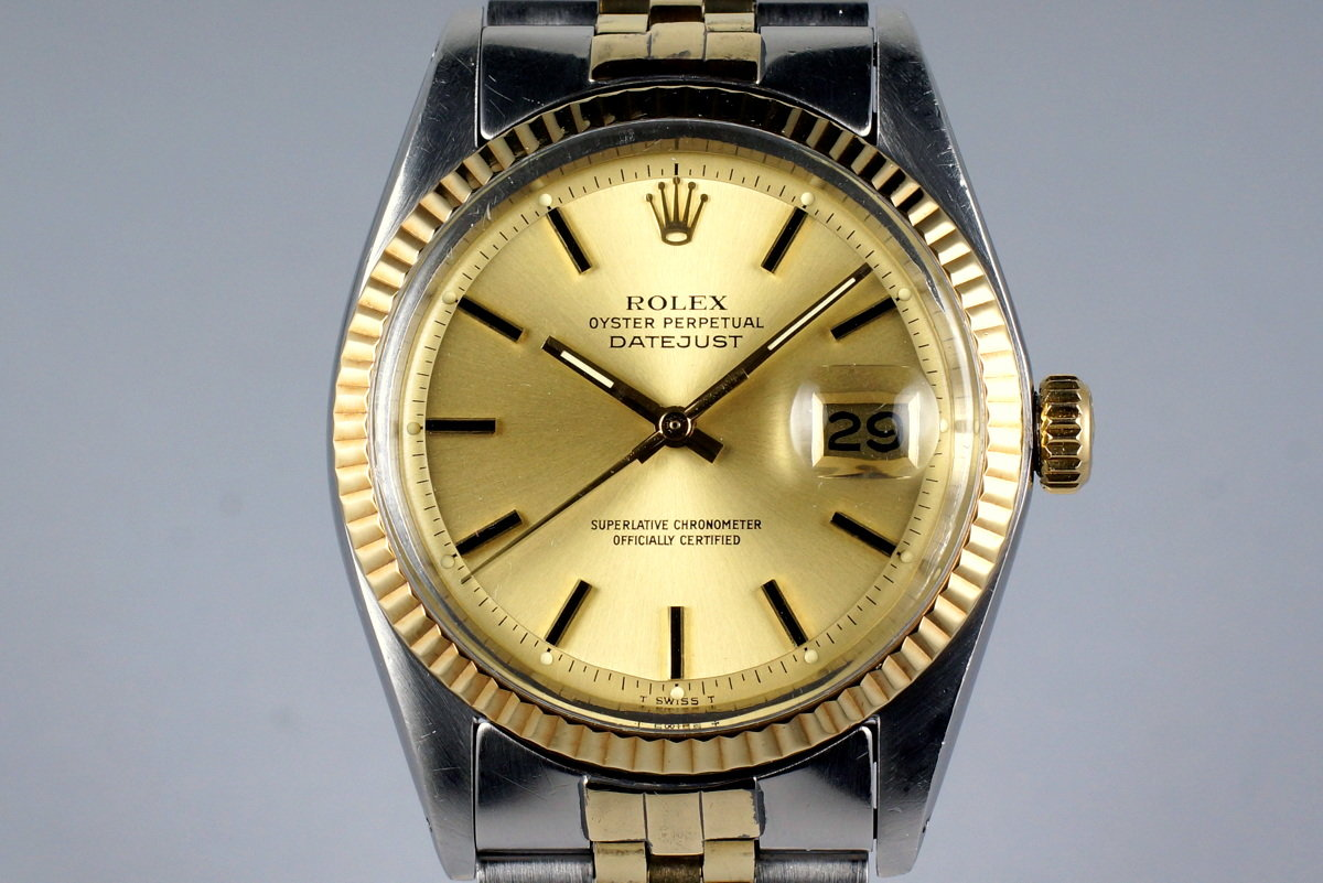 1978 Rolex Two Tone DateJust 1601 Champagne Dial with Box and Papers photo, #0