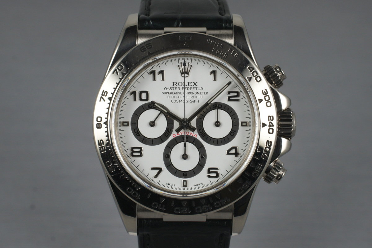 1999 Rolex WG Zenith Daytona 16519 White Arabic Dial with Box and Papers photo, #0