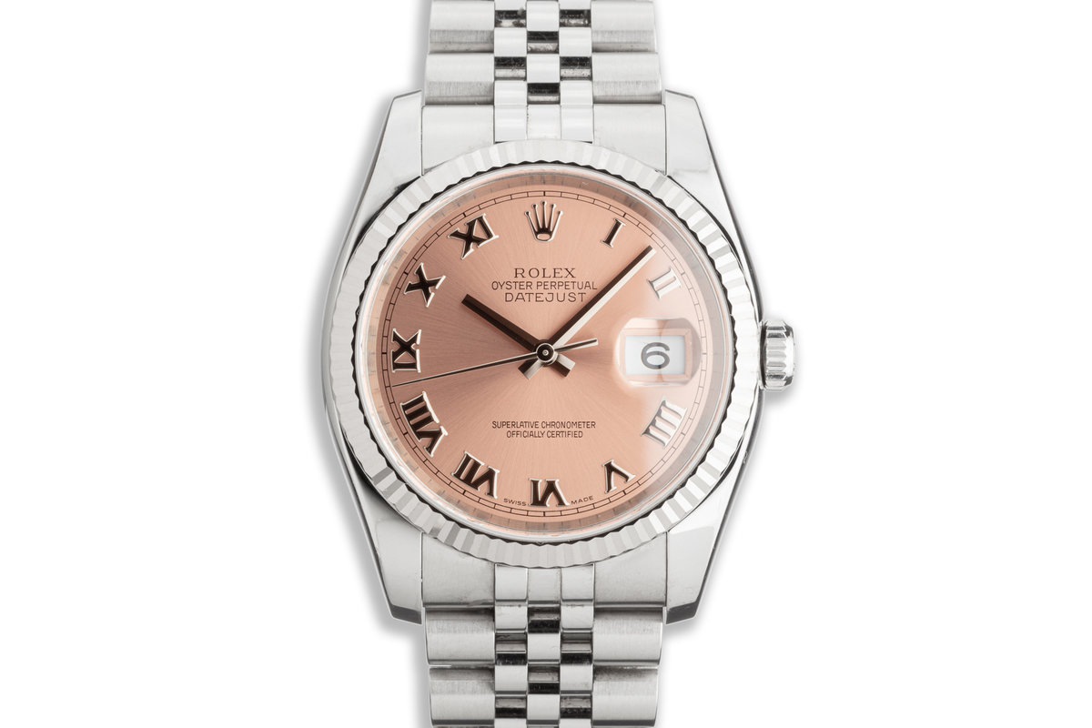2006 Unpolished Rolex Datejust 116234 Pink Roman Numeral Dial w/ Papers photo, #0
