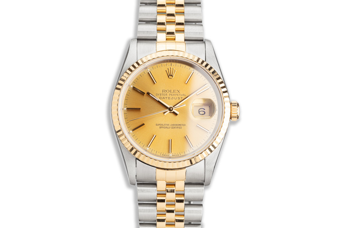 1993 Rolex Two-Tone DateJust 16233 Gold Dial with Service Card photo, #0