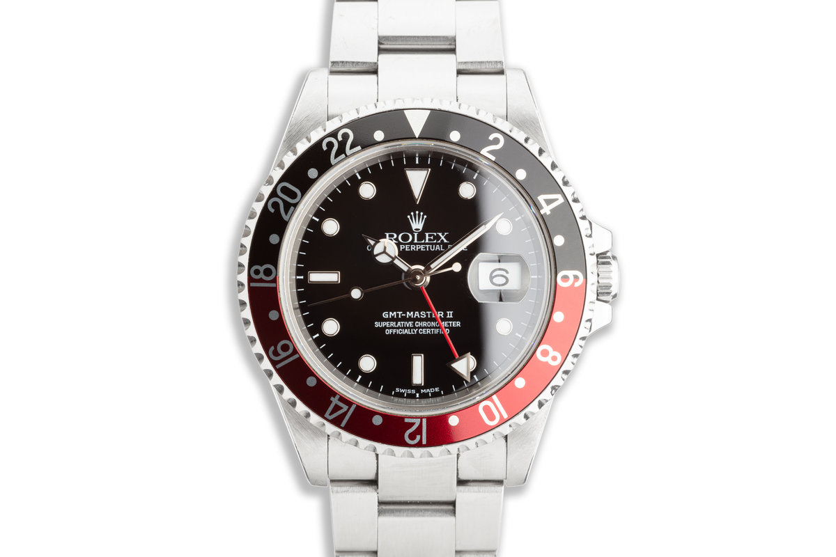 """2000 Unpolished Rolex GMT-Master II 16710 """"Coke"""" Bezel with Box & Papers photo, #0"""