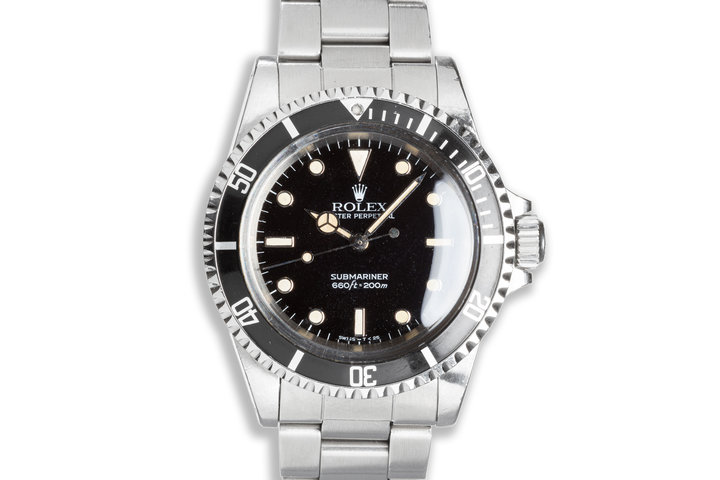 1984 Vintage Unpolished Rolex Submariner 5513 Glossy White Gold Surround Dial photo