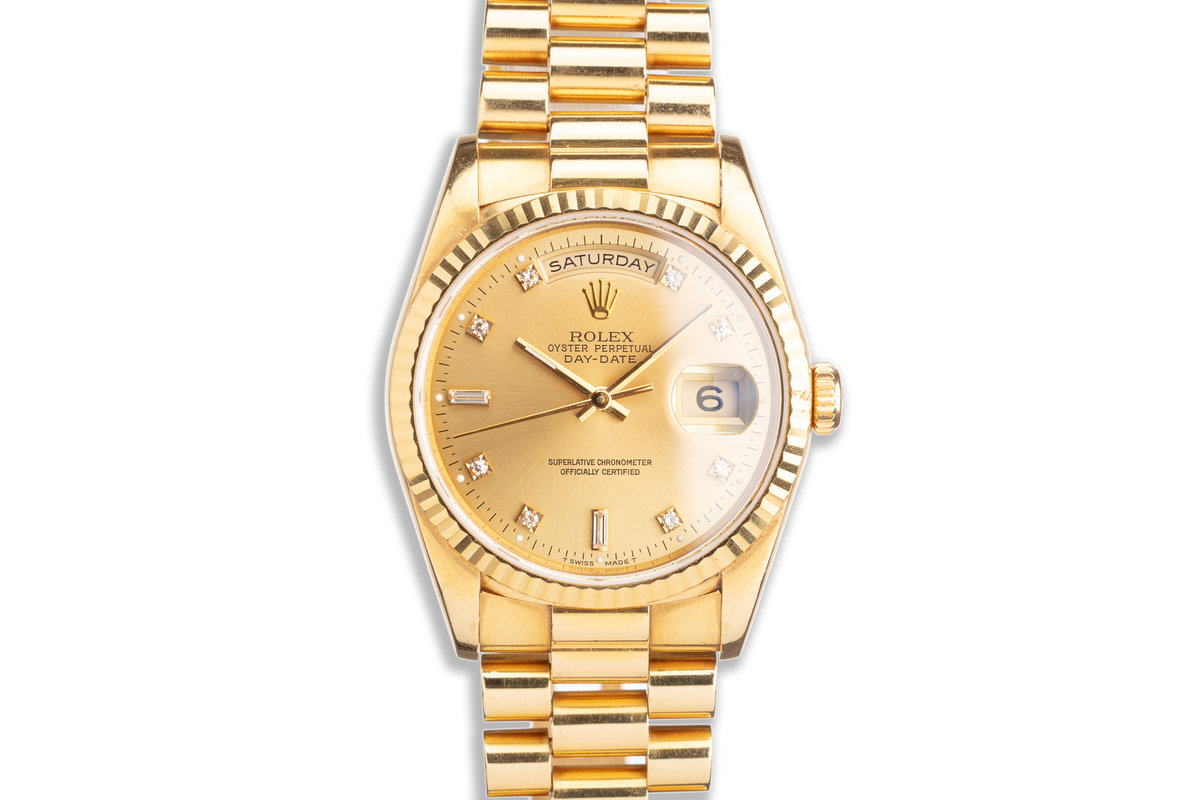 1993 Rolex 18K YG Day-Date 18238 with Gold Diamond Marker Dial photo, #0