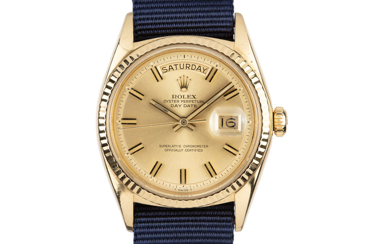"1970 Rolex 18K YG Day-Date 1803 with ""Wideboy"" Dial photo"