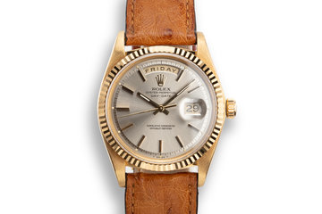 1974 Rolex 18K YG Day-Date 1803 Grey Dial with Service Papers photo