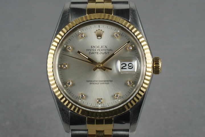 1987 Rolex 18K/SS Datejust 16013 with Silver Factory Diamond Dial photo