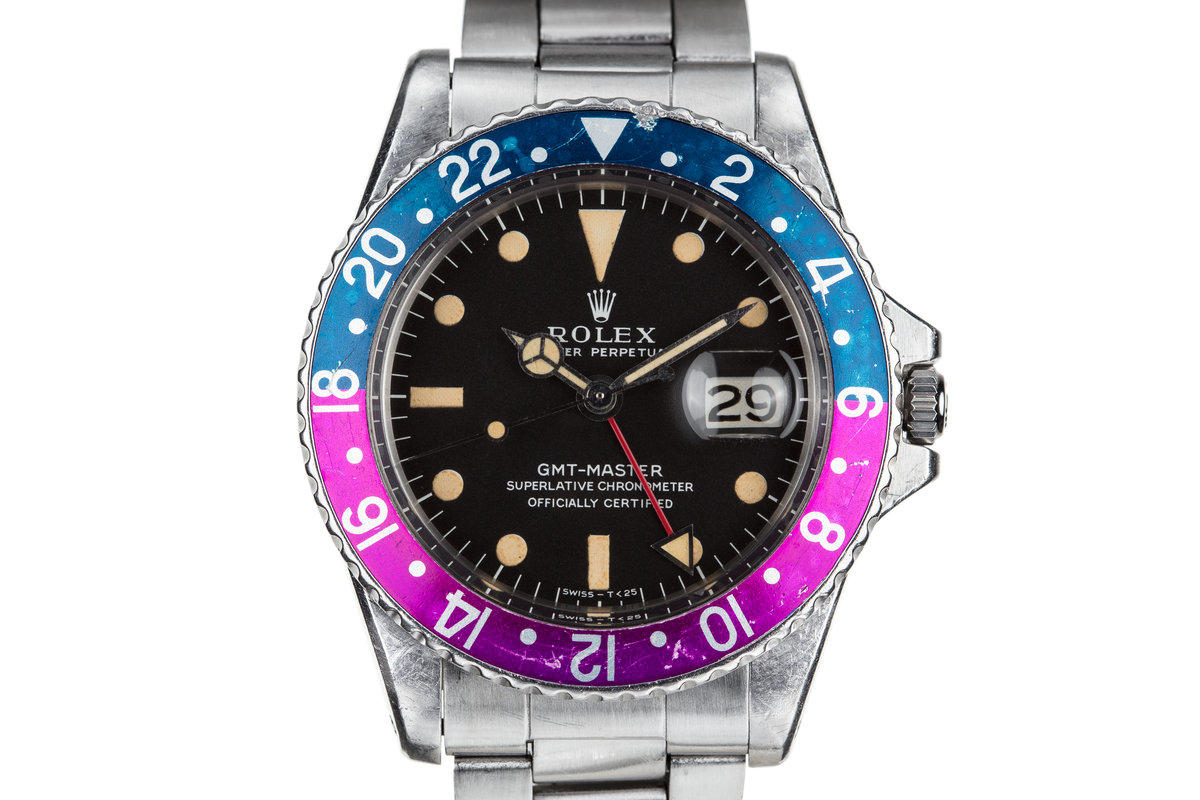 1968 Rolex GMT-Master 1675 with MK I Dial and Fuchsia Bezel Insert photo, #0