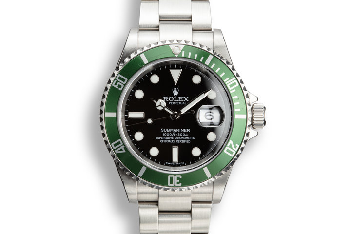 2007 Rolex Green Anniversary Submariner 16610LV with Box and Service Papers photo