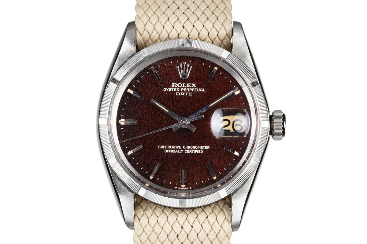 1967 Rolex Date 1500 Gilt Dial with Deep Ruby Tropical Patina photo, #0