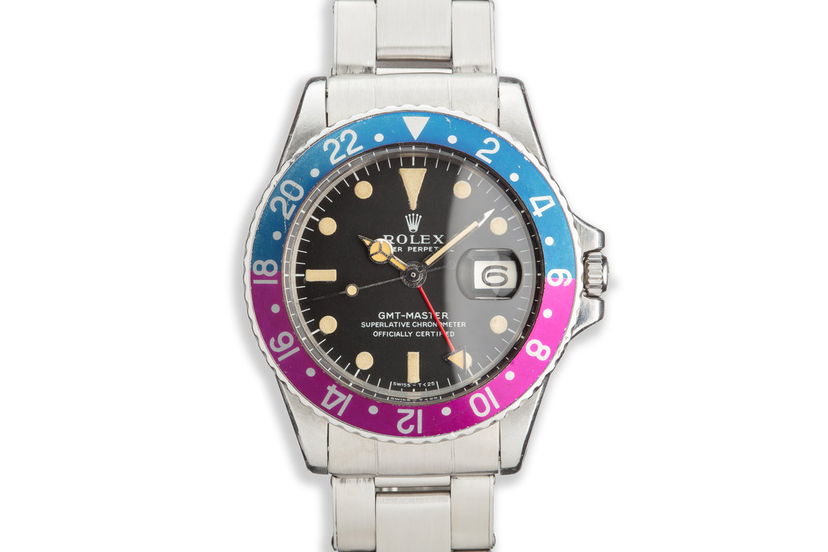 """1968 Vintage Rolex GMT Master 1675 """"Pepsi"""" Fuchsia Bezel with Rolex Service Papers photo, #0"""