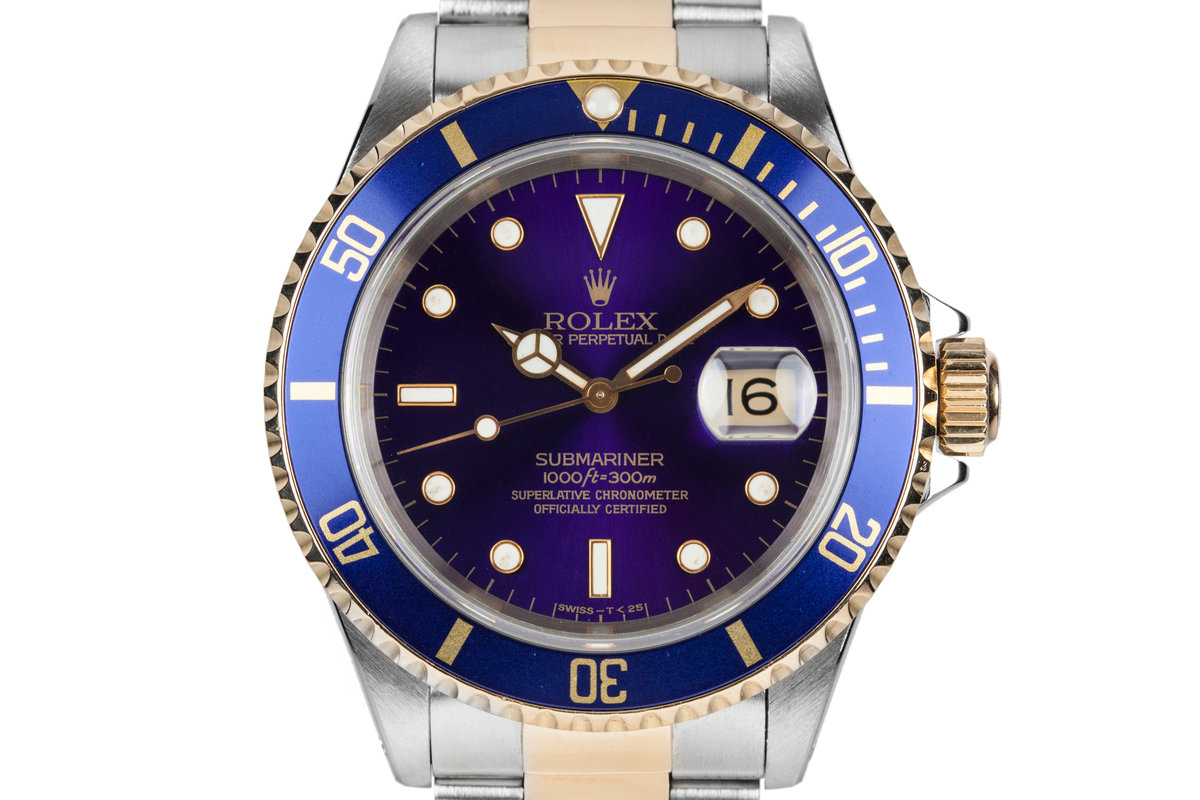 1995 Rolex Two Tone Submariner 16613 with Purple Dial photo, #0