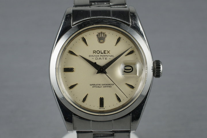 1960 Rolex Date 1500 with White Non-Luminous Dial photo