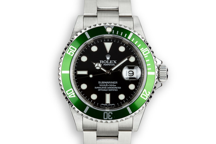 2007 Rolex Green Submariner 16610 T with Box photo