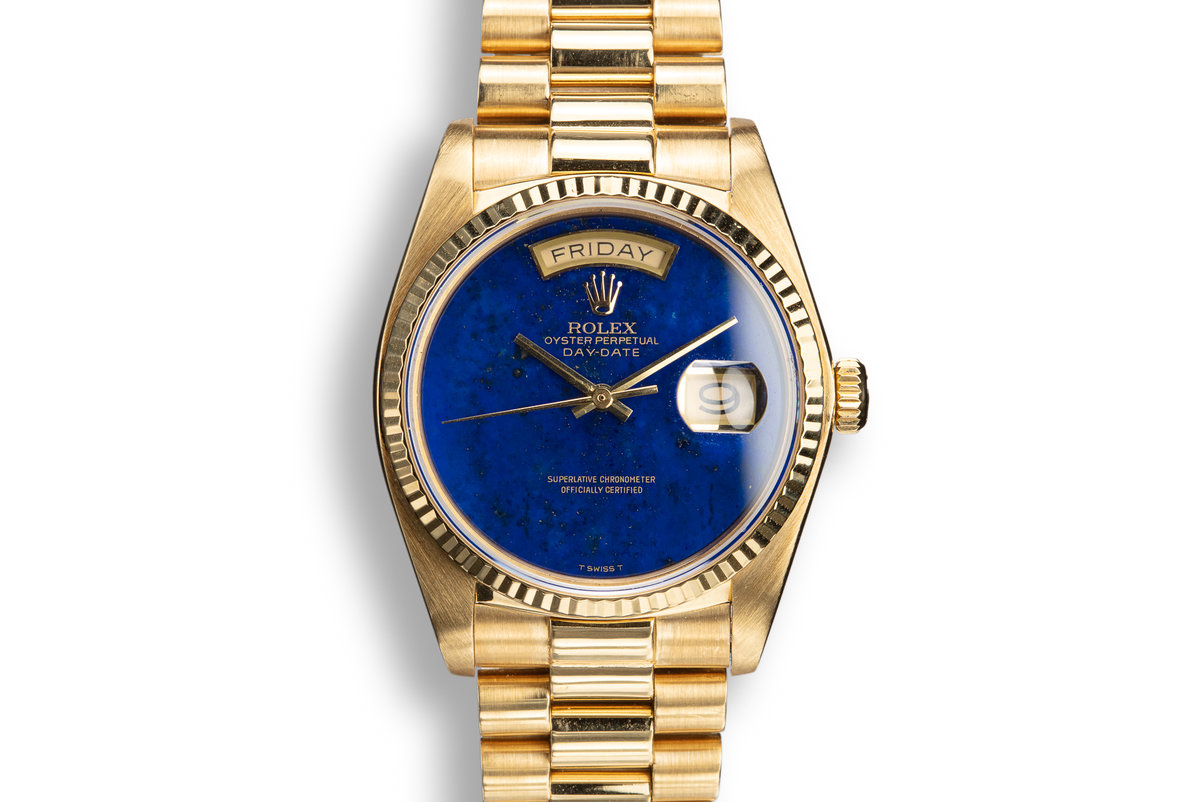 1982 Rolex 18k YG Day-Date 18038 Lapis Dial with Box and Booklets photo, #0