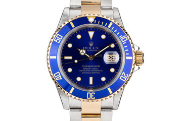 1999 Rolex Two Tone Submarinwer 16613 Blue SWISS Only Dial with Box and Papers photo