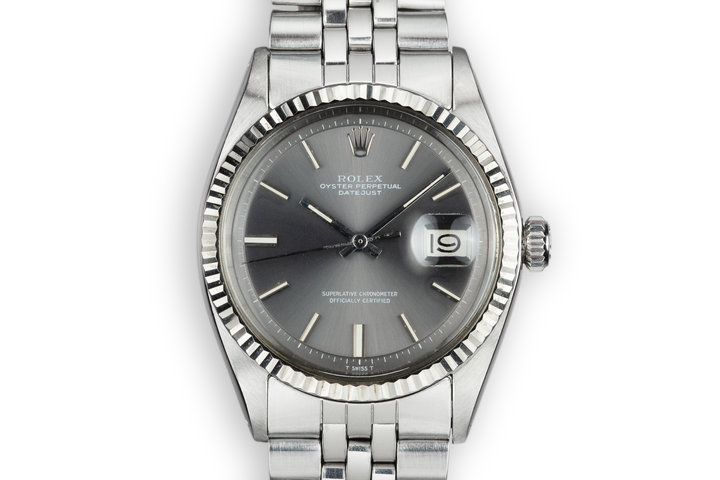 1972 Rolex DateJust 1601 No Lume Grey Dial with Box and Double Punched Papers photo