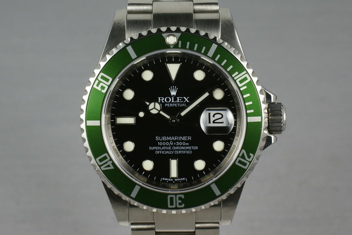 Rolex Green Submariner 16610 LV M Serial with Box and Papers photo