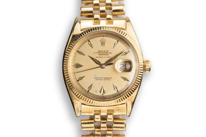 1957 Rolex 18K YG DateJust 6605 Champagne Serpico Y Laino Dial with Service Papers photo