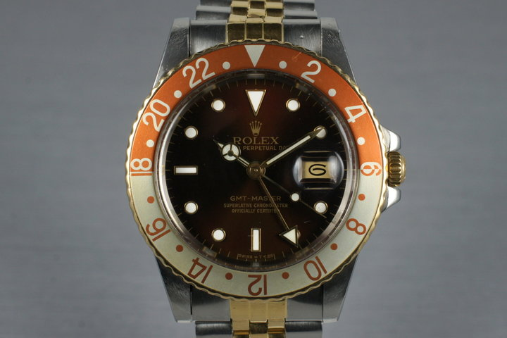 1983 Rolex Two Tone Root Beer GMT 16753 with Box and RSC Papers photo
