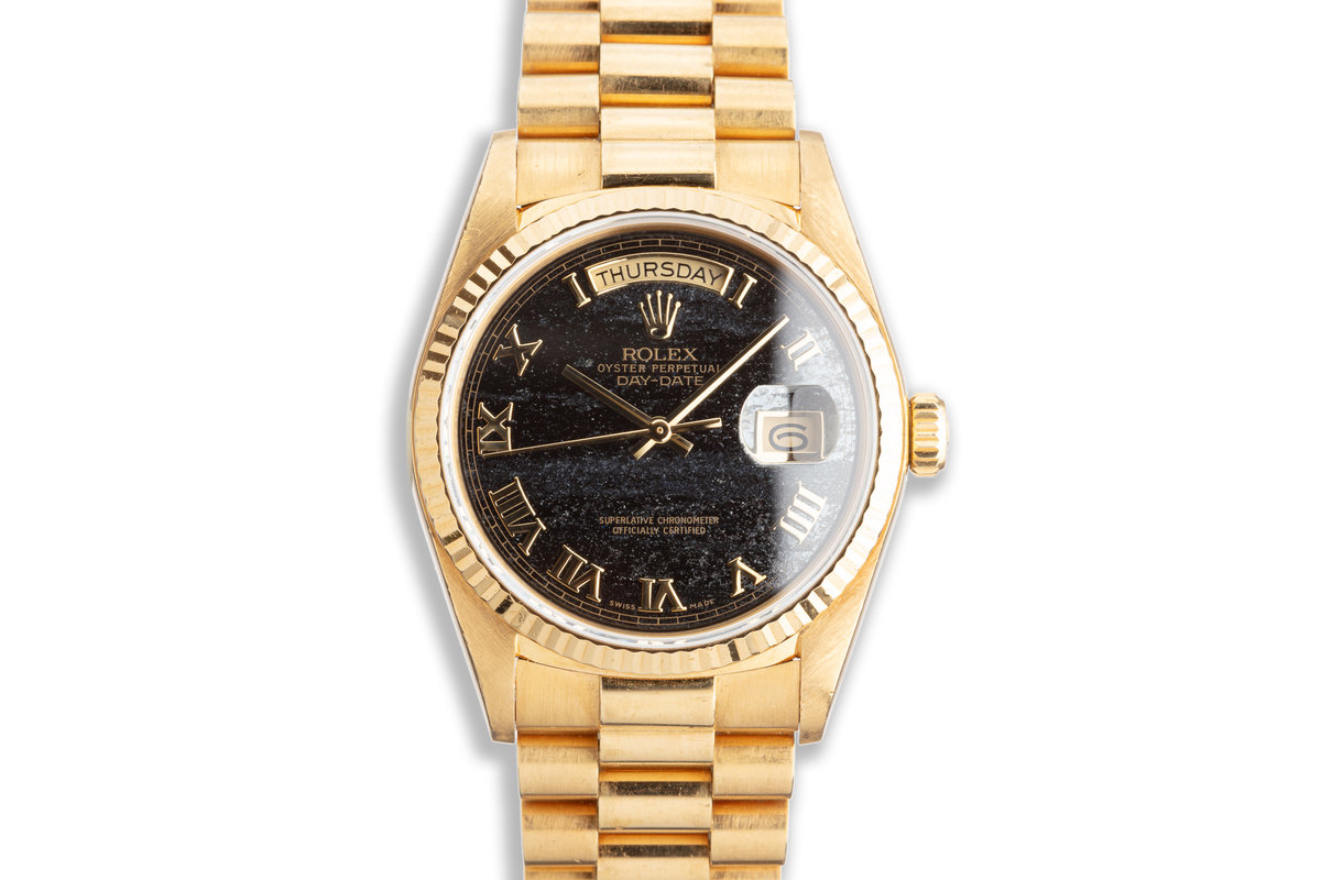 1988 Rolex 18K YG Day-Date 18038 Ferrite Dial with Box & Papers photo, #0
