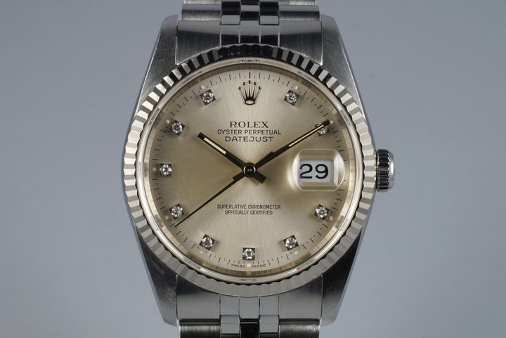 1990 Rolex DateJust 16234 with Factory Diamond Silver Dial photo