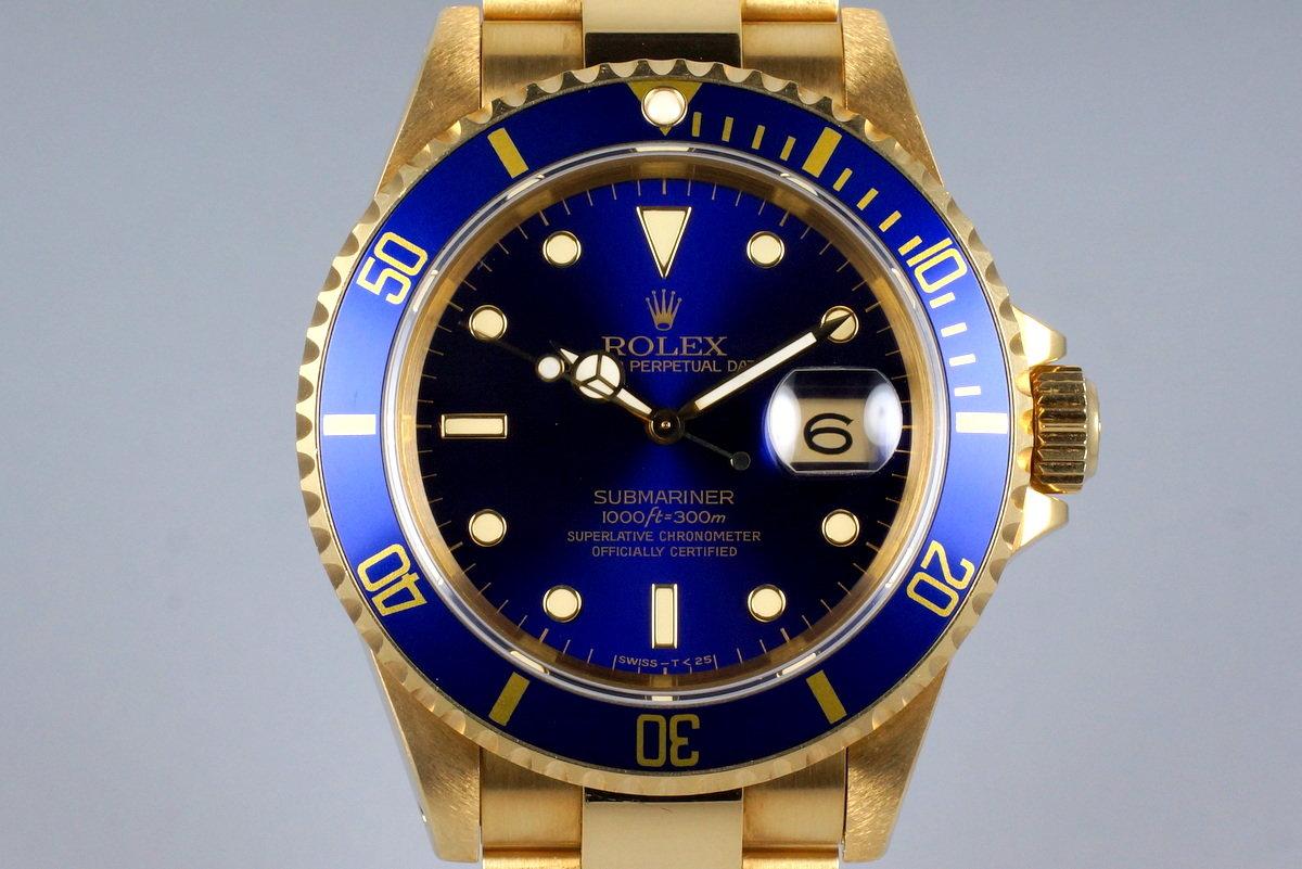 1991 Rolex YG Submariner 16618 Blue Dial photo, #0