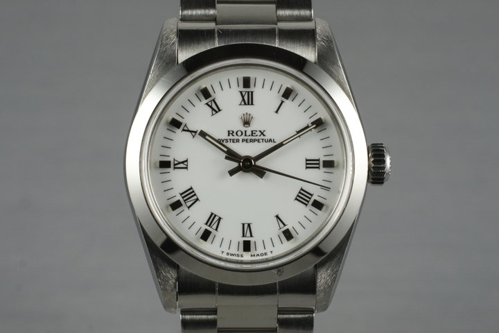 1997 Rolex MidSize Oyster Perpetual 67480 with White Roman Dial photo