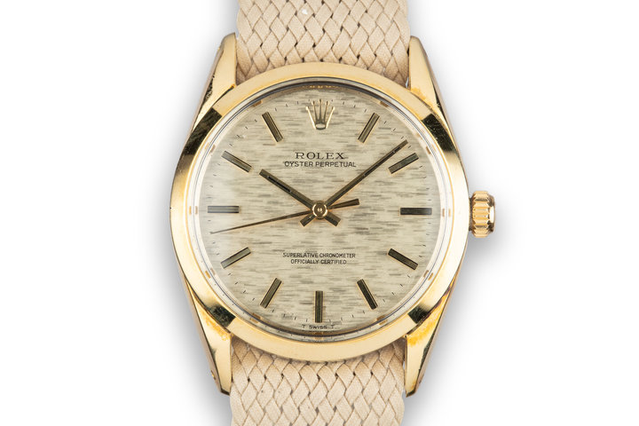 1972 Rolex Gold Shell Oyster Perpetual 1004 Mosaic Dial photo
