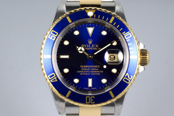 2000 Rolex Two Tone Blue Submariner 16613 photo