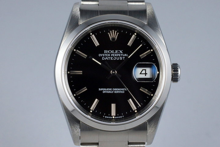 1994 Rolex DateJust 16200 Black Dial with RSC Papers photo