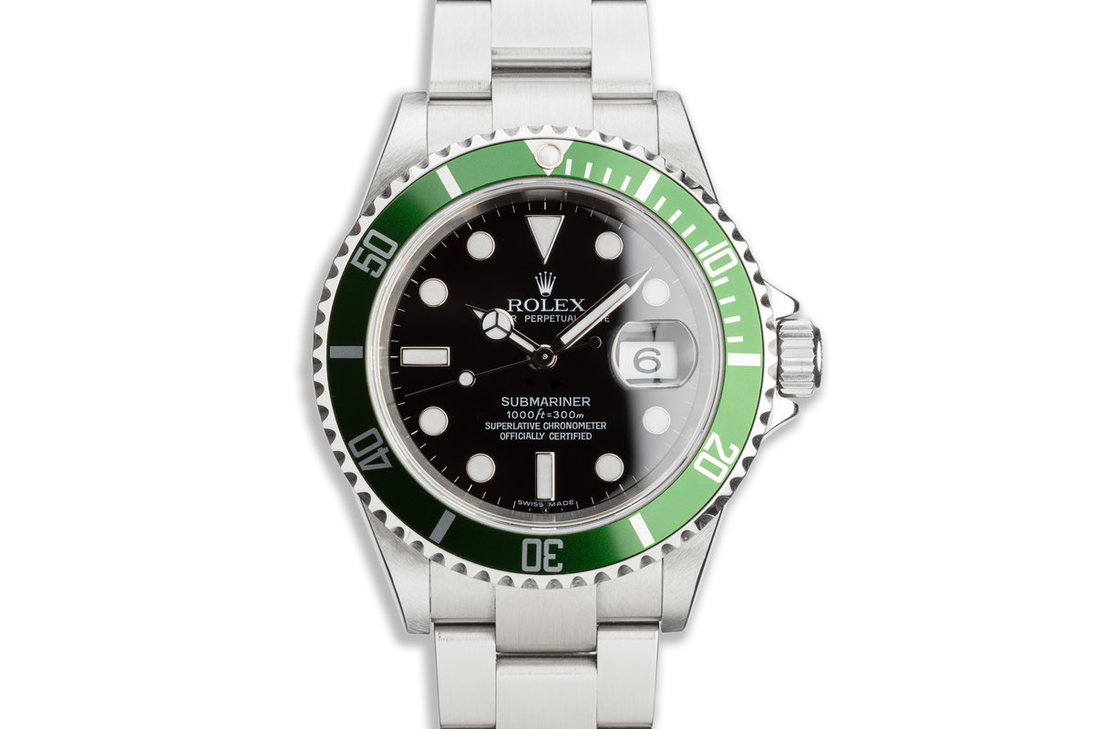 2006 Rolex Unpolished Anniversary Green Submariner 16610LV with Box & Card photo, #0