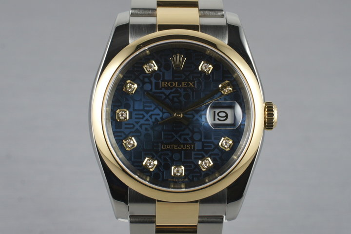 2005 Rolex Two Tone Datejust 116203 Factory Blue Diamond Dial with Box and Papers photo