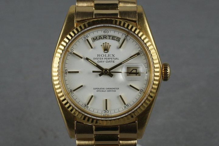 Rolex Vintage 18K YG Day Date 1803 White Dial and President Bracelet photo
