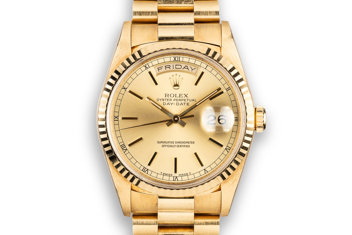 1990 Rolex 18K YG Day-Date 18238 Champagne Dial photo, #0
