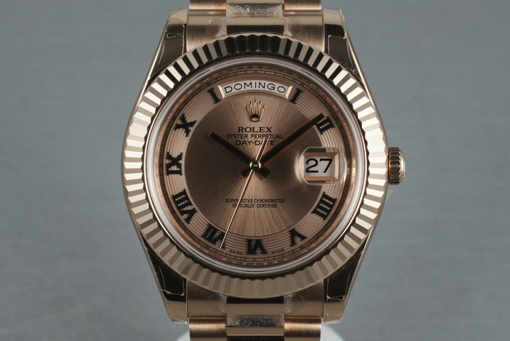 2012 Rose Gold Day Date 2 218235 with Box and Papers photo