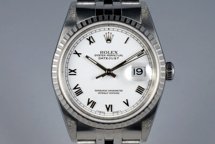 2002 Rolex DateJust 16220 White Roman Dial photo