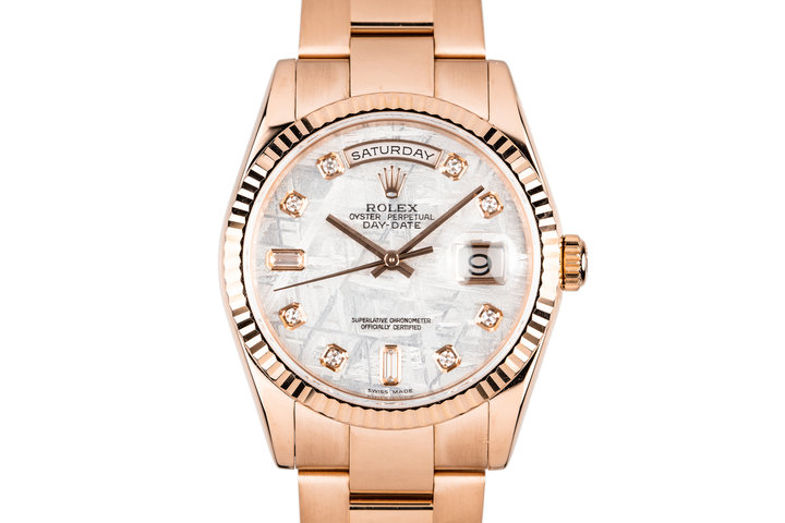 2005 Rolex 18K Rose Gold Day-Date118235 Diamond Meteorite Dial with Box and Papers photo